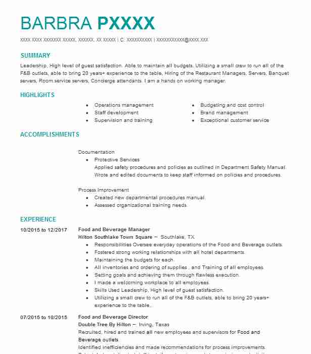 Food And Beverage Server Resume Sample Server Resumes LiveCareer - beverage server sample resume