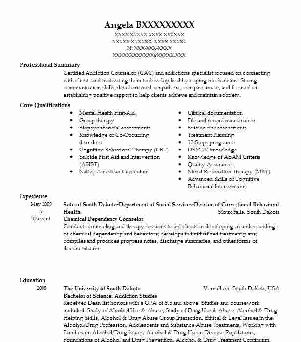 Chemical Dependency Counselor Resume Sample LiveCareer