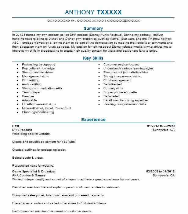 podcast resume example