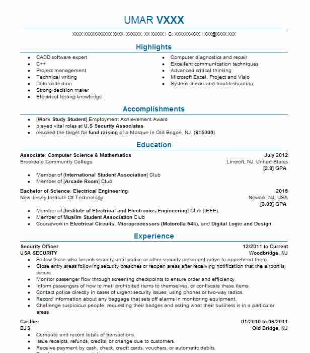 Club Promoter Resume Image collections - resume format examples 2018 - club security officer sample resume