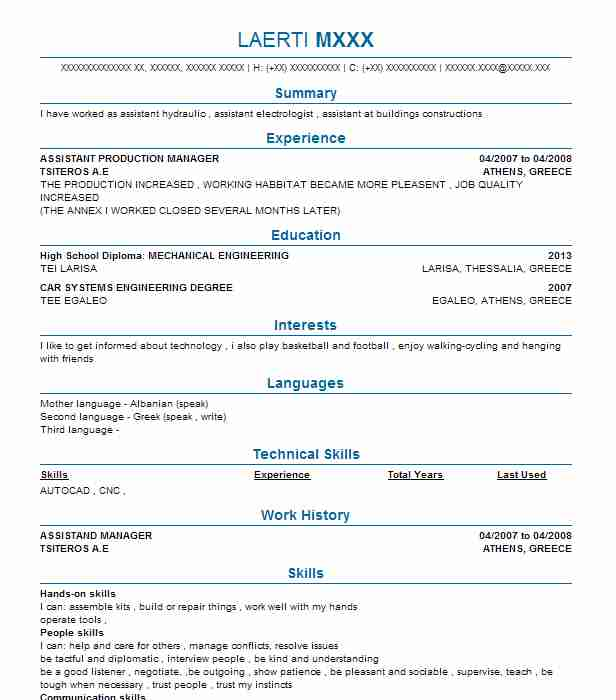 Assistant Production Manager Resume Sample LiveCareer