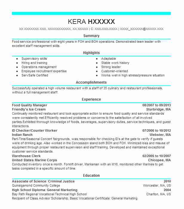 Food Quality Manager Resume Sample LiveCareer