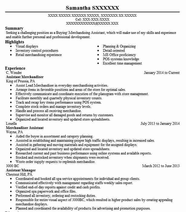 Assistant Merchandiser Resume Sample LiveCareer