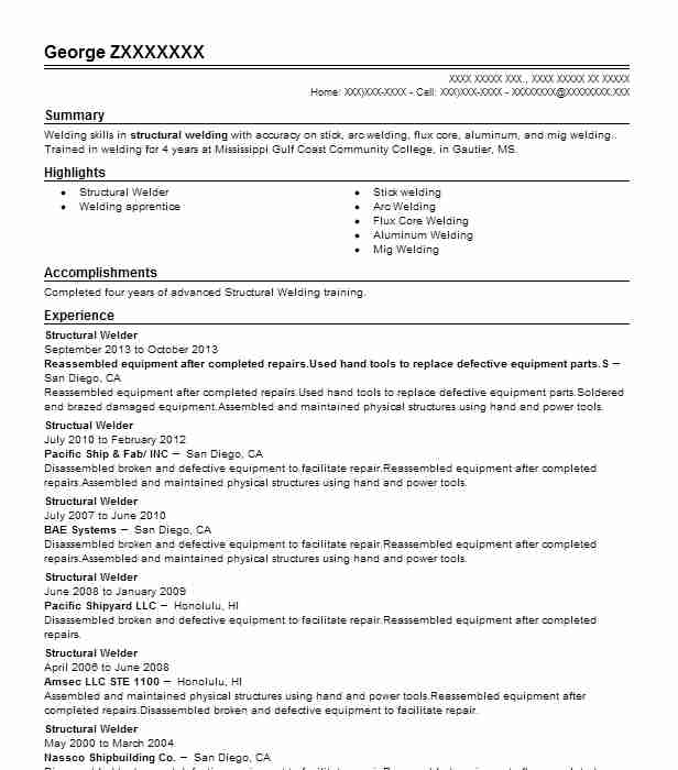 Structural Welder Resume Sample Welder Resumes LiveCareer