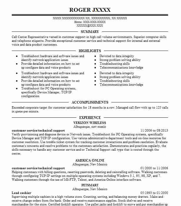 Customer Service/Technical Support Resume Example (Verizon Wireless