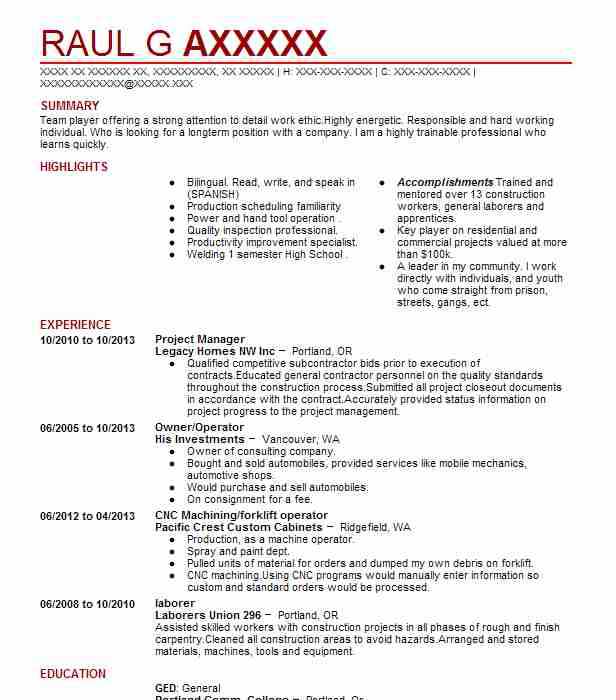 construction management resume samples - Canasbergdorfbib