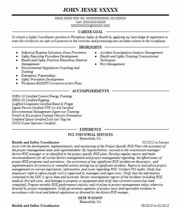Health And Safety Coordinator Resume Sample LiveCareer