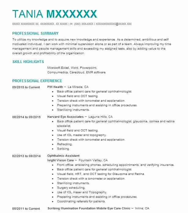Ophthalmic Assistant Resume Sample Resumes Misc LiveCareer