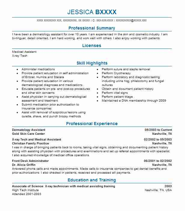 Dermatology Assistant Resume Sample Assistant Resumes LiveCareer