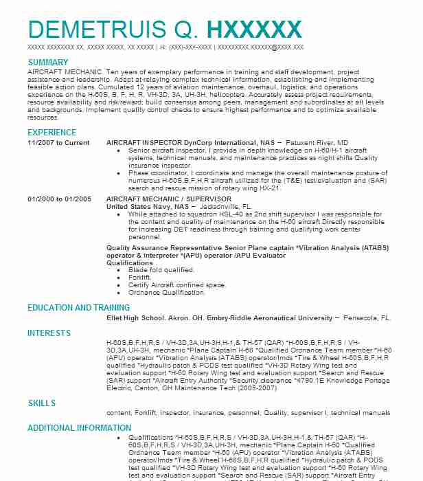AIRCRAFT MECHANIC / SUPERVISOR Resume Example (AIRCRAFT INSPECTOR