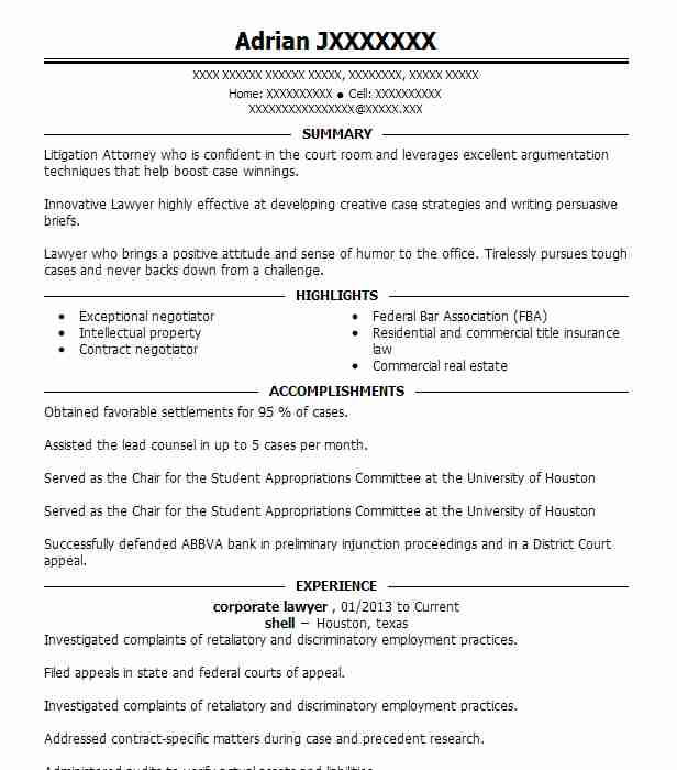 sample resume for corporate lawyer
