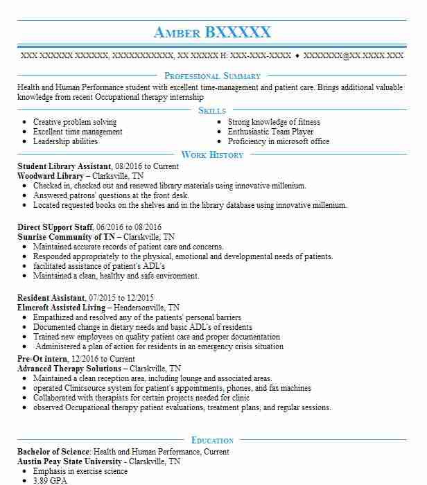 Student Library Assistant Resume Sample LiveCareer