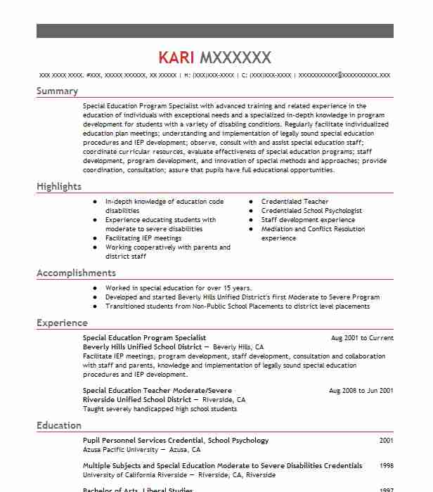 Special Education Program Specialist Resume Sample LiveCareer