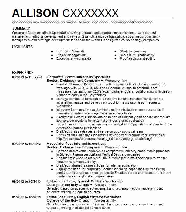Corporate Communications Specialist Resume Sample LiveCareer