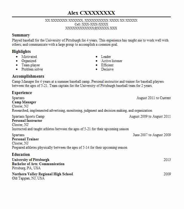 Camp Manager Resume Sample Manager Resumes LiveCareer