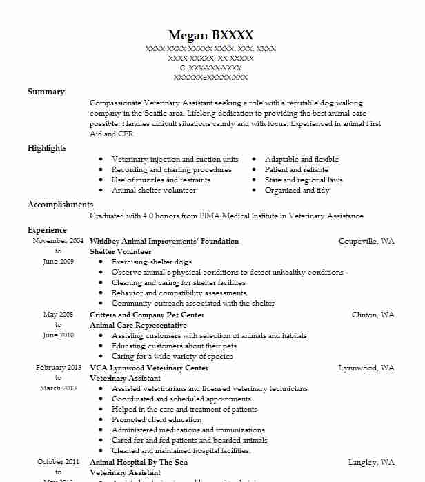 821 Animal Control Resume Examples Veterinary Resumes LiveCareer - Animal Shelter Volunteer Sample Resume