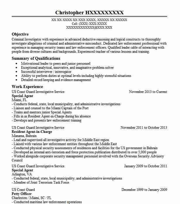 Special Agent Resume Sample Agent Resumes LiveCareer