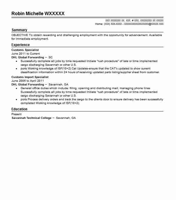 Customs Specialist Resume Sample Specialist Resumes LiveCareer