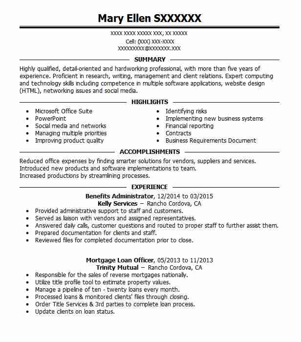 Benefits Administrator Resume Sample LiveCareer