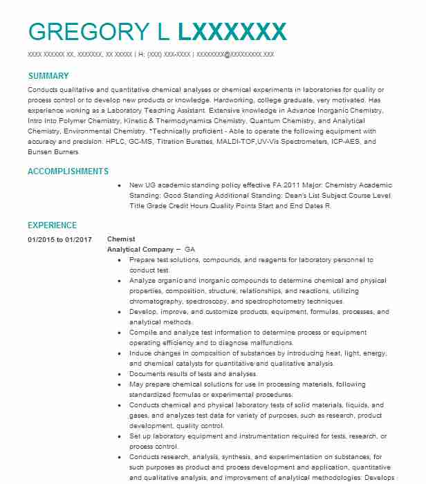 Best Chemist Resume Example LiveCareer