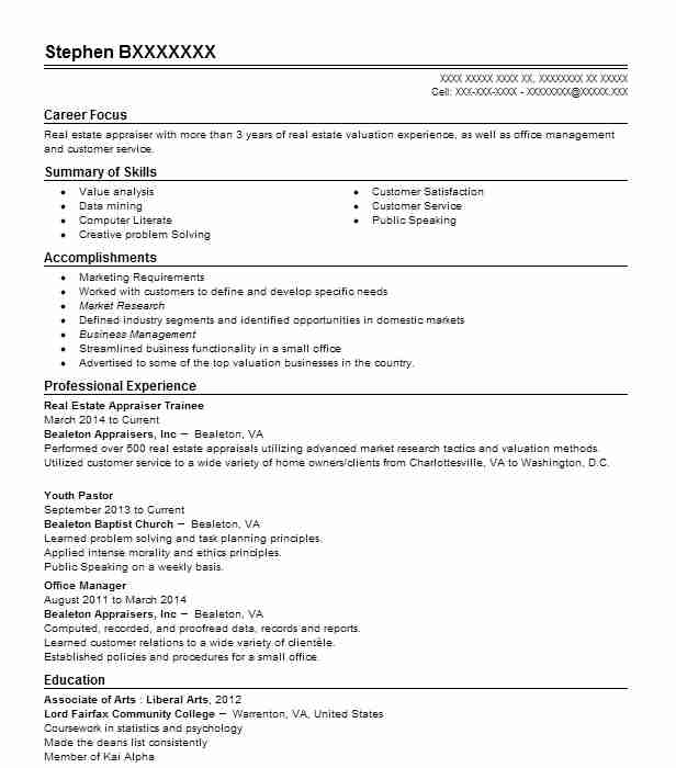 Real Estate Appraiser Trainee Resume Sample LiveCareer