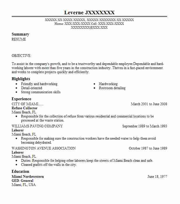 Refuse Collector Resume Sample Collector Resumes LiveCareer
