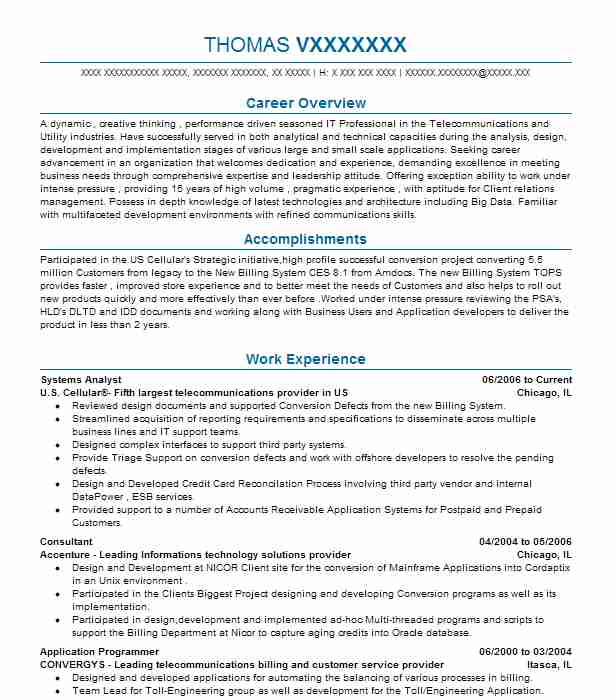 Systems Analyst Resume Sample Resumes Misc LiveCareer