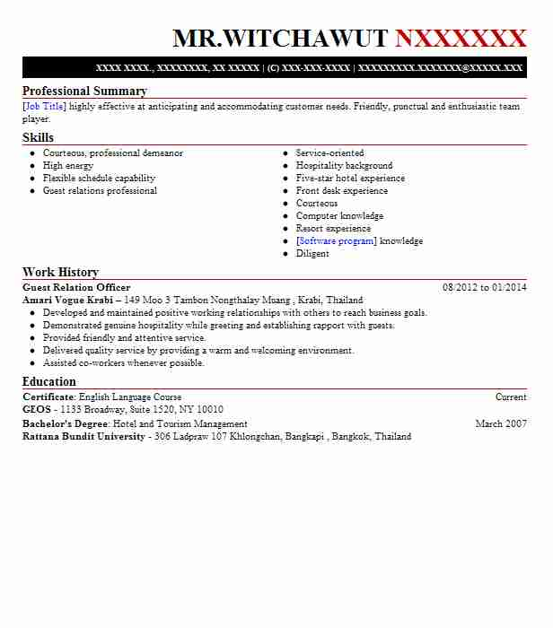 Guest Relation Officer Resume Sample Officer Resumes LiveCareer