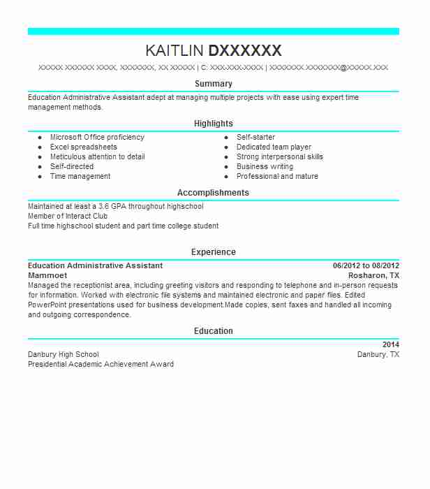 Education Administrative Assistant Resume Sample LiveCareer