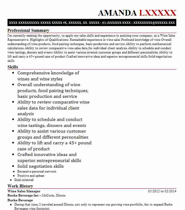 Wine Sales Manager Resume Sample Manager Resumes LiveCareer