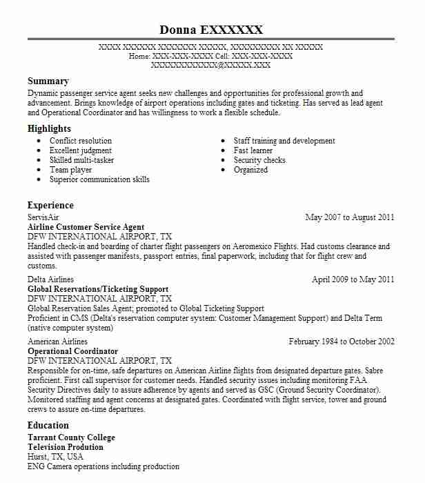 resume customer service agent airline