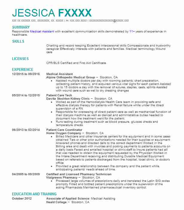 Medical Assistant Resume Example (Alpine Orthopedic Medical Group