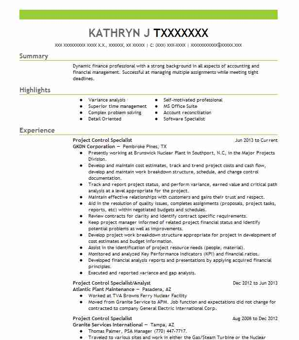 Project Control Specialist Resume Sample LiveCareer