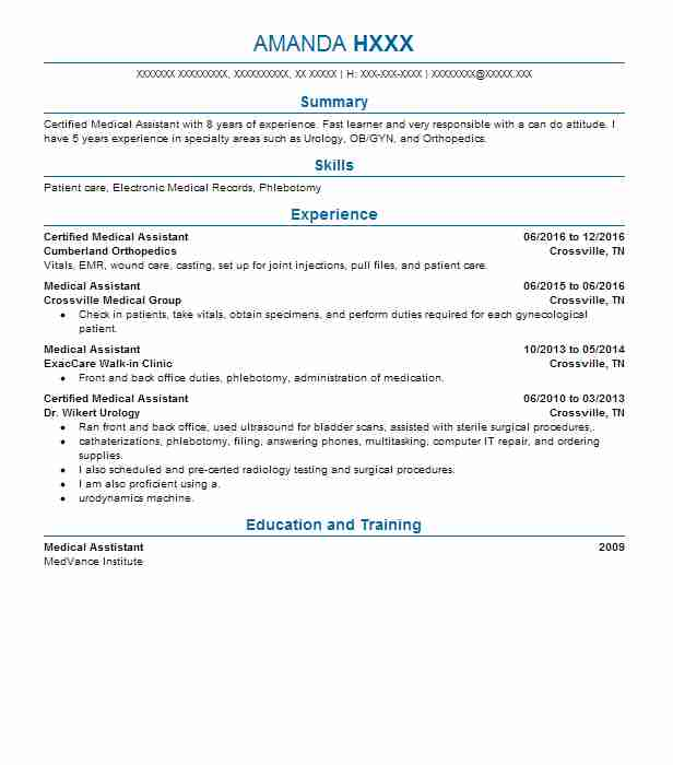 Back Office Medical Assistant Resume Example (Good Samaritan - medical assistant dermatology resume