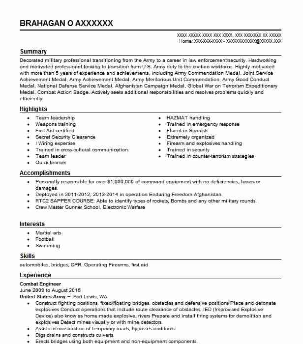 Combat Engineer Resume Sample Military Resumes LiveCareer