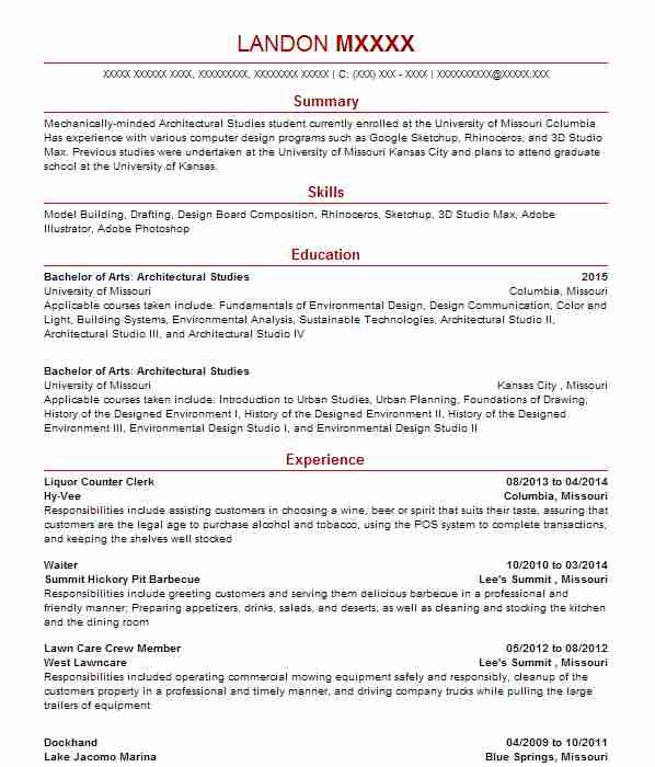 161 Architects (Architecture) Resume Examples in Missouri LiveCareer - counter clerk sample resume