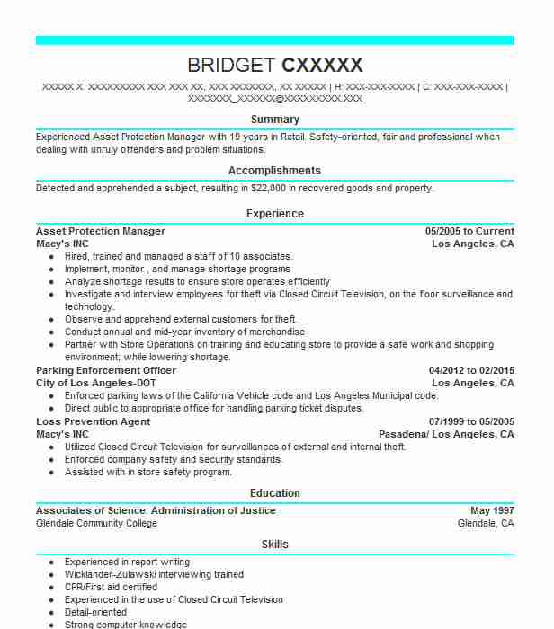 Asset Protection Manager Resume Sample LiveCareer