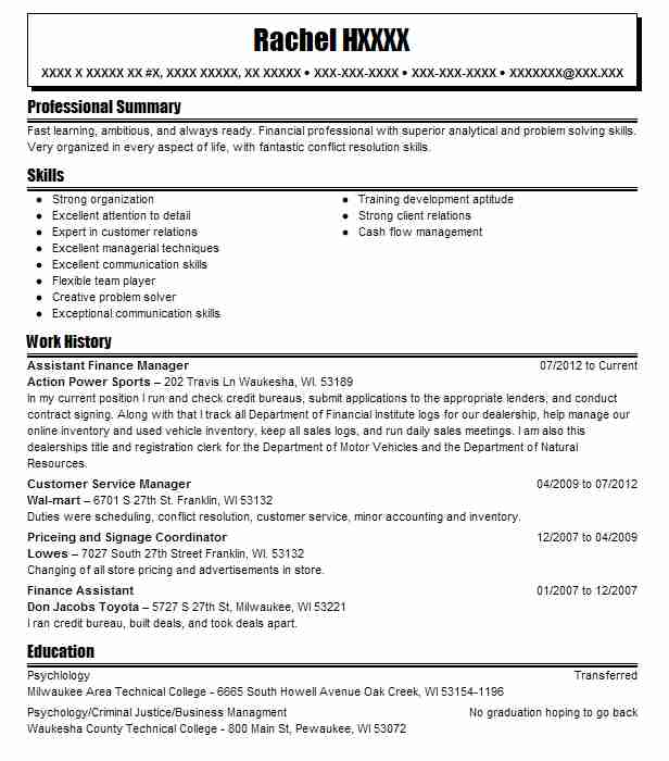 Assistant Finance Manager Resume Sample Manager Resumes LiveCareer