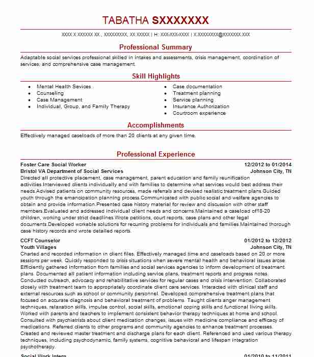Foster Care Social Worker Resume Sample Worker Resumes LiveCareer - foster care case manager sample resume