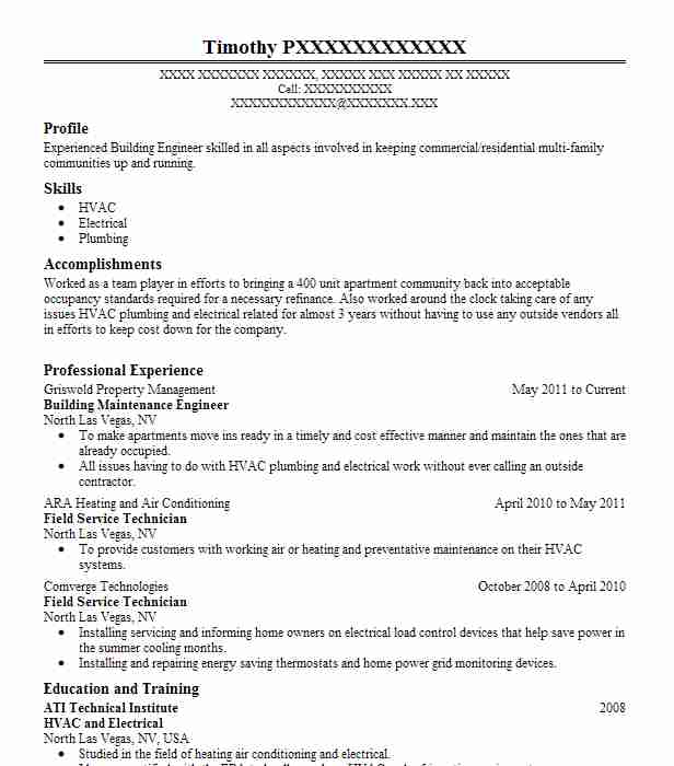 Building Maintenance Engineer Resume Sample LiveCareer