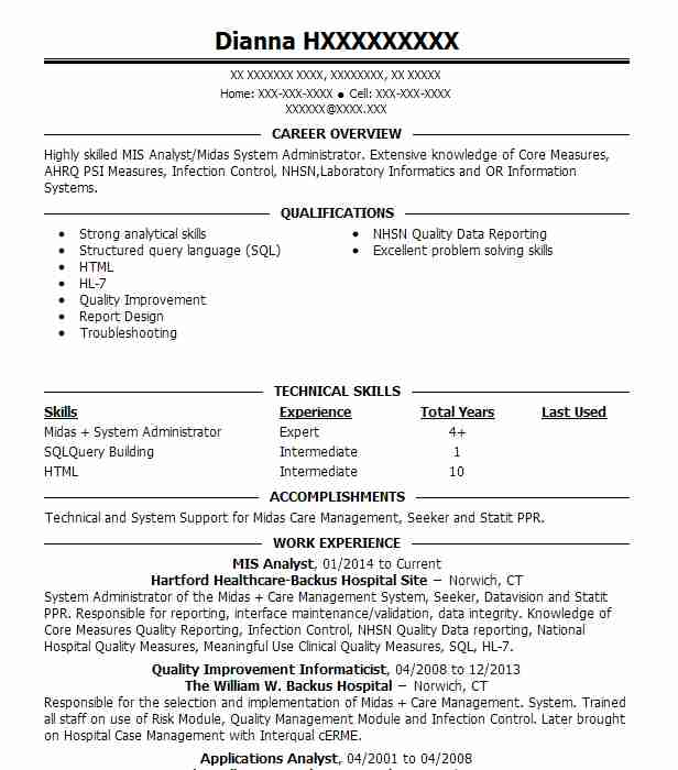 Mis Analyst Resume Sample Analyst Resumes LiveCareer