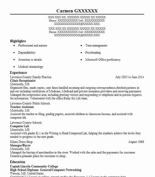 Clinic Receptionist Resume Sample Receptionist Resumes LiveCareer - Clinic Receptionist Sample Resume
