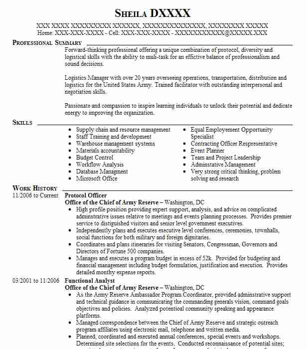 Protocol Officer Resume Sample Officer Resumes LiveCareer