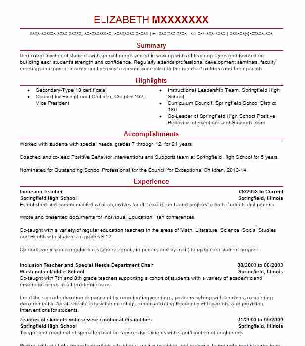 Inclusion Teacher Resume Sample Teacher Resumes LiveCareer
