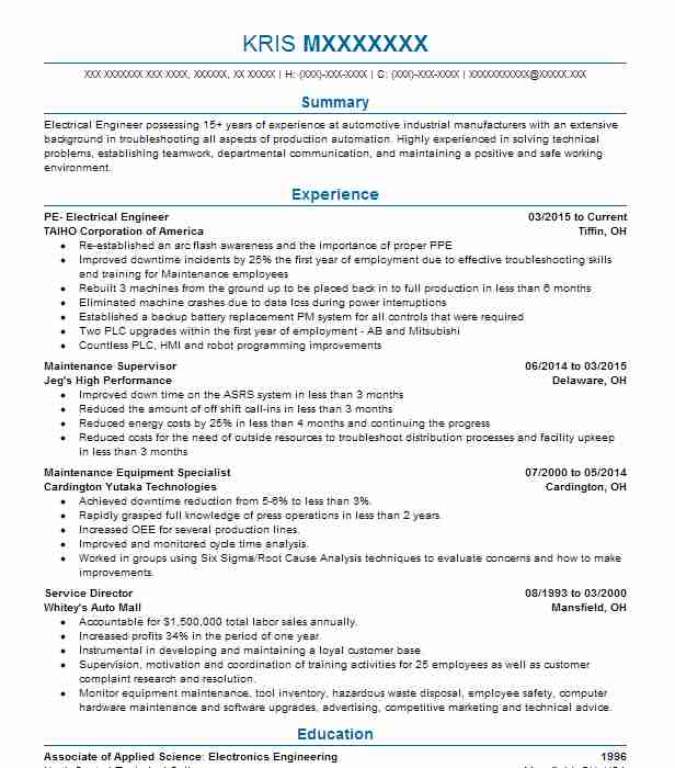 Facility Engineer Resume Sample Engineering Resumes LiveCareer - outside plant engineer sample resume