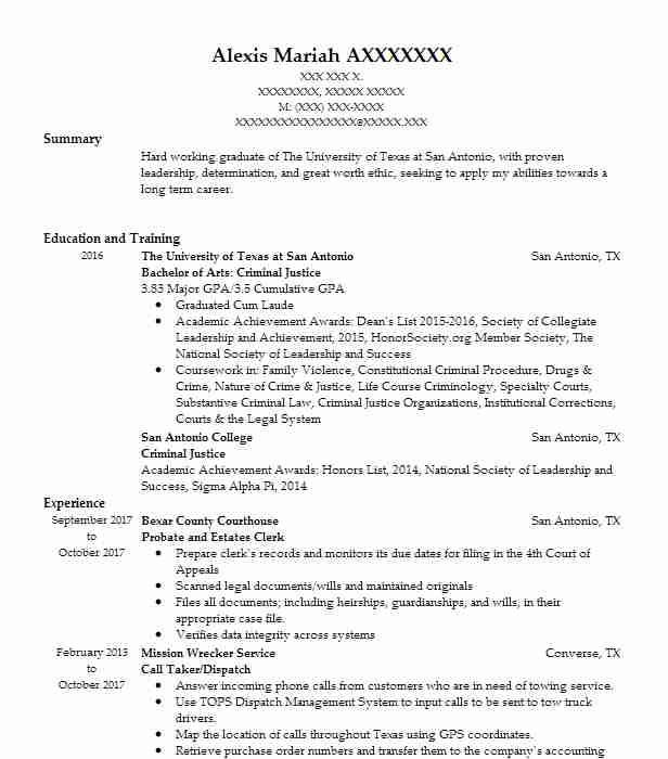 Probate And Estates Clerk Resume Example (Bexar County Courthouse