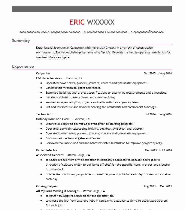 Eye-Grabbing Carpenter Resumes Samples LiveCareer - Fixed Base Operator Sample Resume