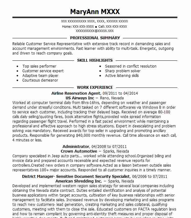 airline reservation agent sample resume  cv de lagent de