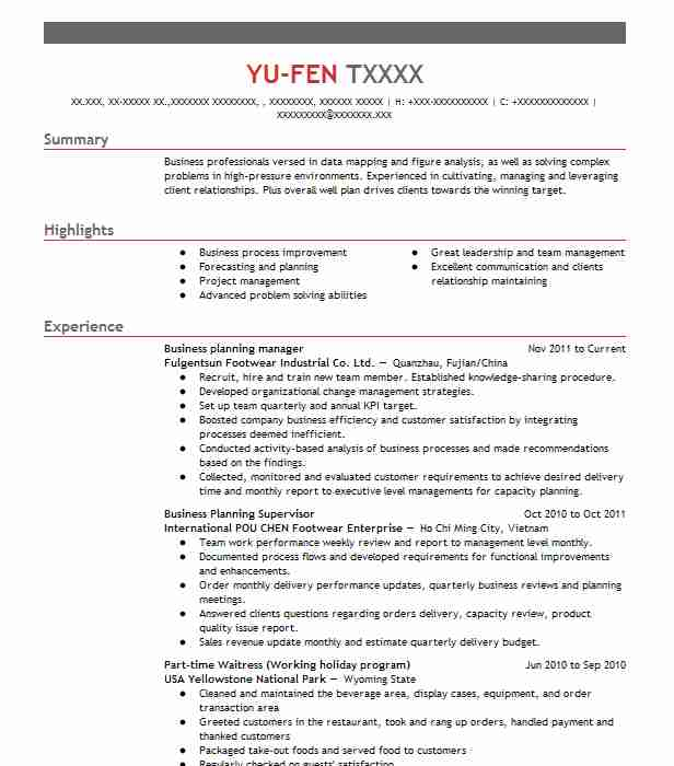 Business Planning Manager Resume Sample Manager Resumes LiveCareer