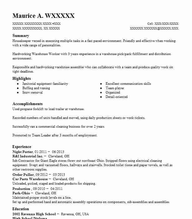 Night Porter Resume Sample Porter Resumes LiveCareer